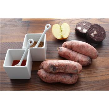 Pork, black pudding and apple sausages